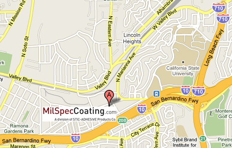 MilSpecCoating.com warehouse on Los Angeles city map