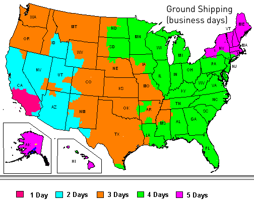 FedEx Ground shipping map for MilSpecCoating.com